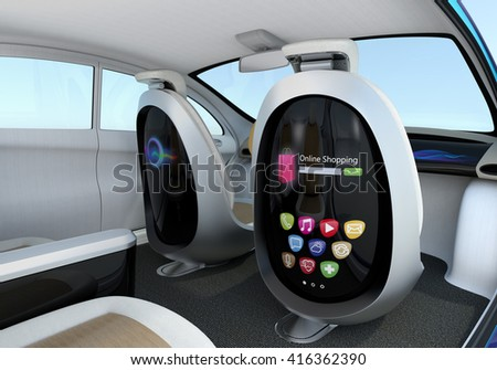 Autonomous car interior concept. Front seats equipped with monitors help Passengers enjoying internet while they travelling on the road. 3D rendering image with clipping path. - stock photo