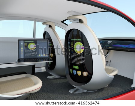 Autonomous car interior concept. Rear screen of front passenger seat display business document, and laptop on the side table show same document. 3D rendering image with clipping path.