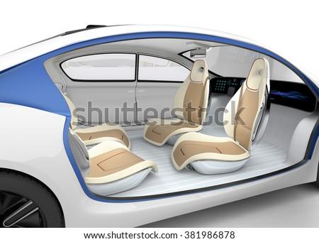Autonomous car's interior concept. The car offer folding steering wheel, rotatable passenger seat. Original design.  - stock photo