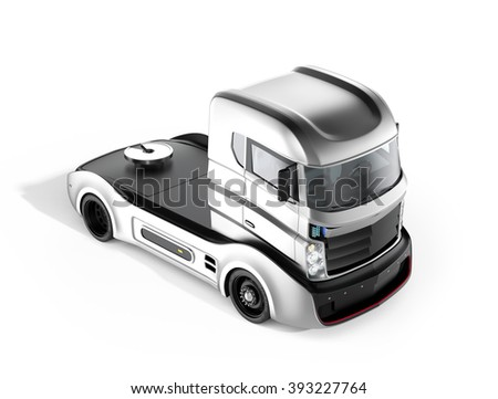 Autonomous hybrid truck isolated on white background. 3D rendering image with clipping path. Original design. - stock photo