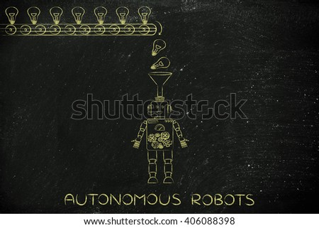 autonomous robot: ideas & knowledge being dropped into a robot's mind from a factory production line, concept of artificial intelligence - stock photo