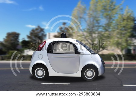Autonomous self-driving (drive) driverless vehicle with radar driving on the road - stock photo