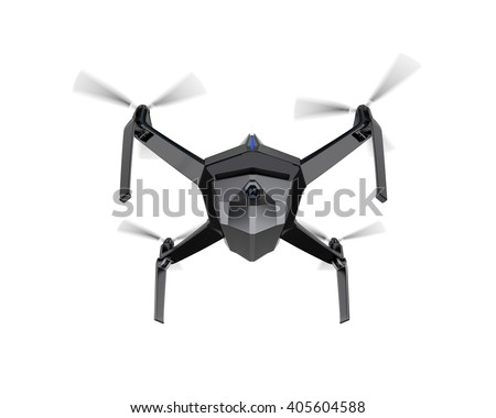 Autonomous unmanned drone with surveillance camera. Flight control by sonar system (blue line in the front of the body). 3D rendering image with clipping path available. - stock photo