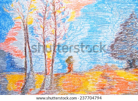 Autumn. Abstract color painting. Hand-drawn illustration. Color soft pastels on watercolor paper. - stock photo