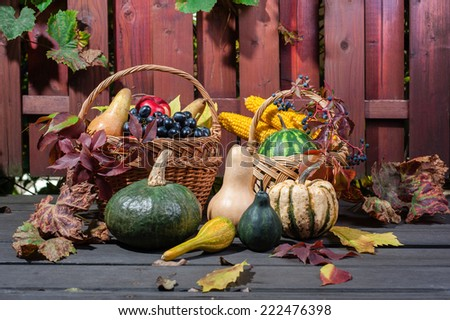 Autumn and Thanksgiving concept. Seasonal fruit and pumpkins in basket on wood background. - stock photo