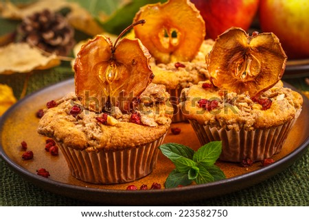 Autumn apple muffins - stock photo