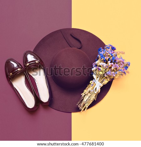 Autumn Arrives. Stylish Look  for Lady. Fashionable Hat and Shoes. Minimal fashion