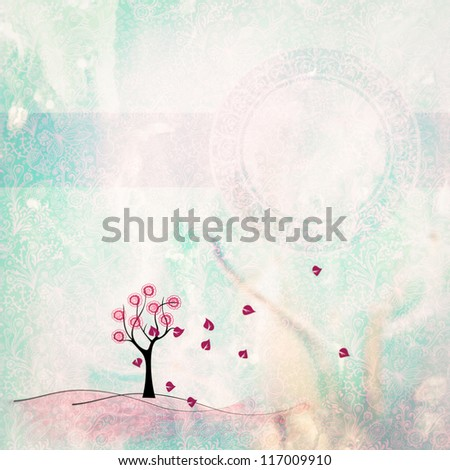autumn - art illustration, background - stock photo