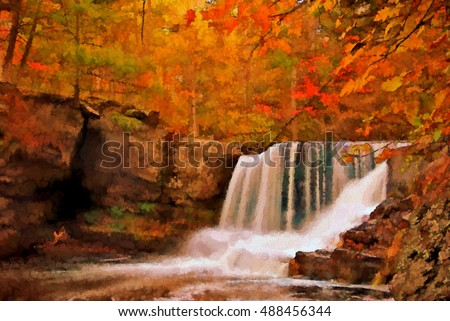 Autumn at Factory Falls in the Poconos of Pennsylvania turned into a colorful pointillism style painting. Factory Falls is located in the George W Childs State Park.