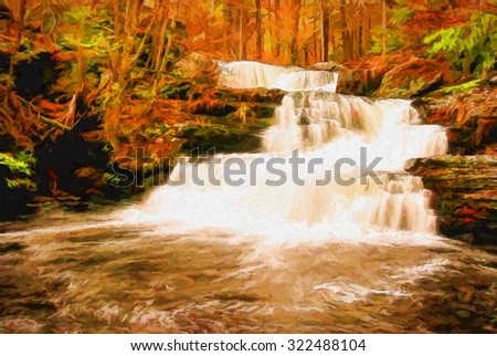 Autumn at Factory Falls, located in the Poconos of Pennsylvania, transformed into a colorful painting. - stock photo