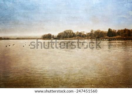 Autumn at lake Chiemsee, Germany, textured - stock photo