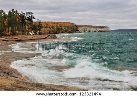 Autumn at Mosquito Beach Pictured Rocks National Lakeshore - stock photo