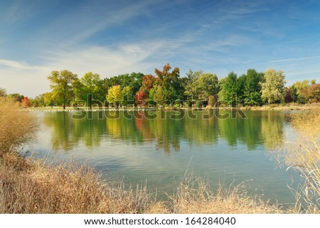 Autumn at the Post-Dispatch Lake in Forest Park. - stock photo