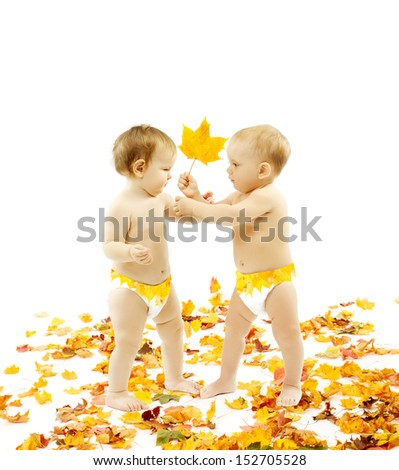 Autumn Baby Kids presenting Yellow Leaf Gift, Children Present on White Background - stock photo