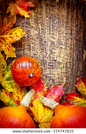 Autumn background/Autumn leaves and pumpkins over wooden background/Thanksgiving day concept