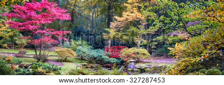 autumn  background panorama in Japanese park