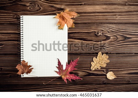 autumn background with blank for notes