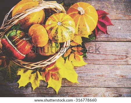 Autumn background with colorful leaves and pumpkins on rustic wooden board. Gifts of Autumn in a basket. Thanksgiving and Halloween holidays concept. Harvest rural fall season. Space for your text. - stock photo