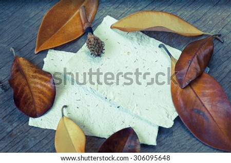 Autumn background with colorful leaves, green leaves, yellow dandelion flowers on wooden background. Fall theme, Autumn concept background with yellow fall leaves and copy space. - stock photo