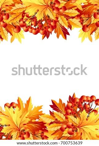 Autumn Background Fall Maple Tree Leaves Stock Illustration