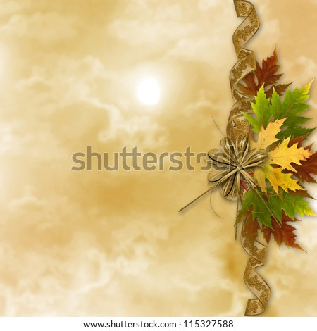 Autumn background with foliage and grunge papers design in scrapbooking style - stock photo