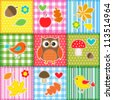 Autumn background with leaves,acorns,birds and owl. Raster version - stock vector