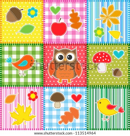 Autumn background with leaves,acorns,birds and owl. Raster version