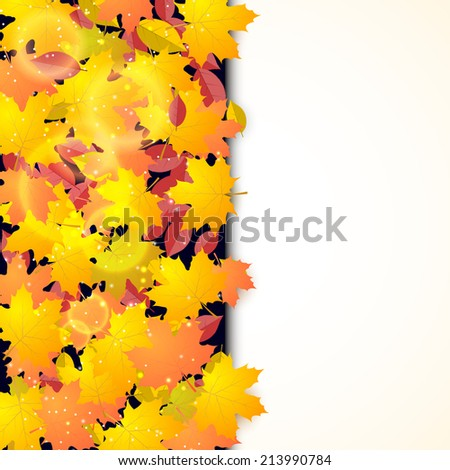 Autumn background with maple and other leaves and field for text.  - stock photo