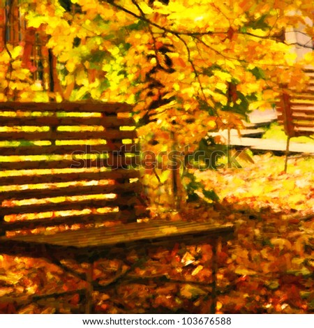 autumn bench in red and yellow autumn leaves of park drawing imitation by watercolor paints