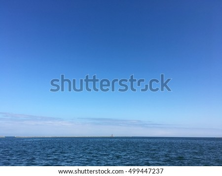 Autumn blue sky of harbor in Japan on dark blue sky background