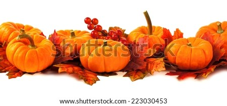 Autumn border of pumpkins and leaves over a white background