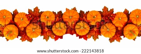 Autumn border or edge of leaves and pumpkins over white         - stock photo