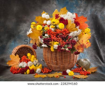 Autumn bouquet flower  - stock photo