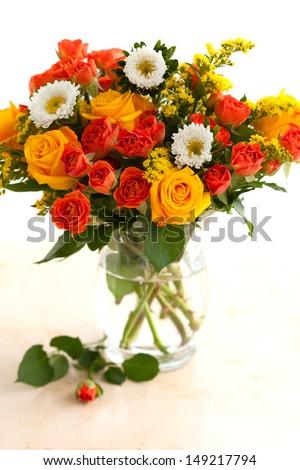 autumn bouquet in vase - stock photo