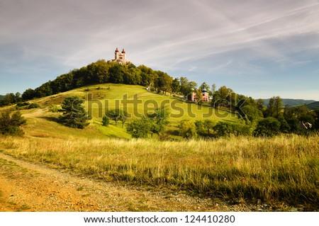 Autumn Calvary in Banska Stiavnica, Slovakia Unesco - stock photo