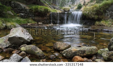 Autumn cascade river name Labe, Czech Republic,Europe - stock photo