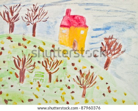 Autumn - Child's painting - stock photo