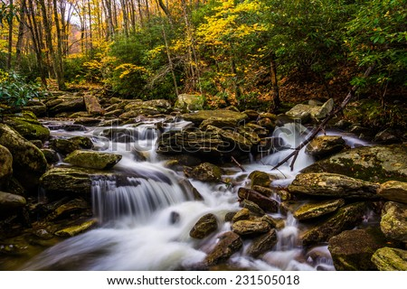 Autumn color and cascades on Boone Fork along the Blue Ridge Parkway, North Carolina. - stock photo