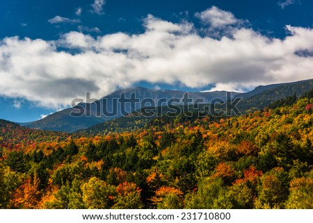 Autumn color and view of the Presidential Range in White Mountain National Forest, New Hampshire. - stock photo