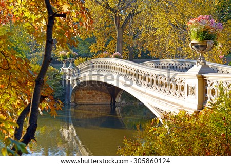 Autumn Color - Bow Bridge in Fall Foliage in Central Park, Manhattan New York - stock photo