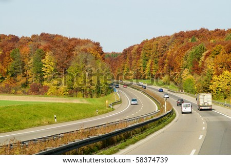 autumn color highway in Germany