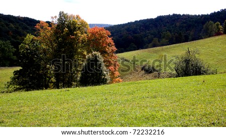 Autumn color in the pasture field, family farm, Webster County, West Virginia, USA - stock photo
