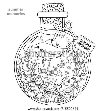 Autumn Coloring Page Adults Black White Stock Illustration
