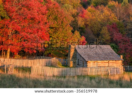 Autumn colors and old homestead, Cumberland Gap National Park - stock photo