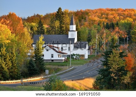 Autumn colors at a countryside Church in Upper Michigan - stock photo