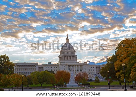 Autumn colors at dawn around US Capitol building in Washington DC - stock photo
