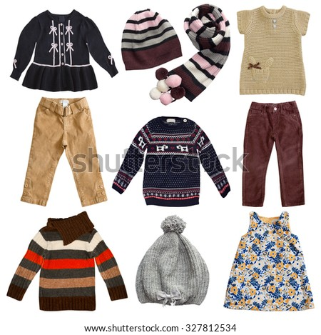 Autumn colors child's clothes set. Kid's wear collage isolated on white. - stock photo