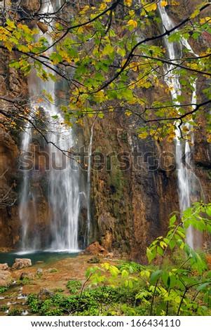 Autumn colors in Plitvice National Park, Croatia, Europe - stock photo