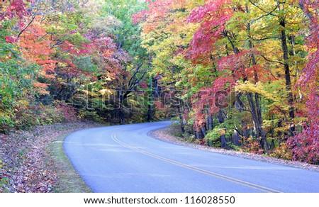 Autumn colors on the Blue Ridge Parkway near Asheville, North Carolina - stock photo