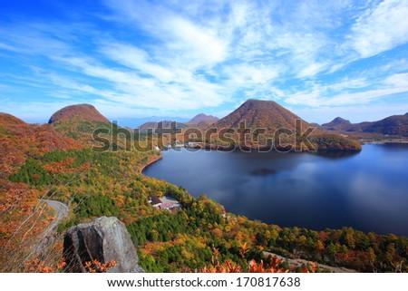 Autumn colours of Mt. Haruna and lake, Gunma, Japan - stock photo